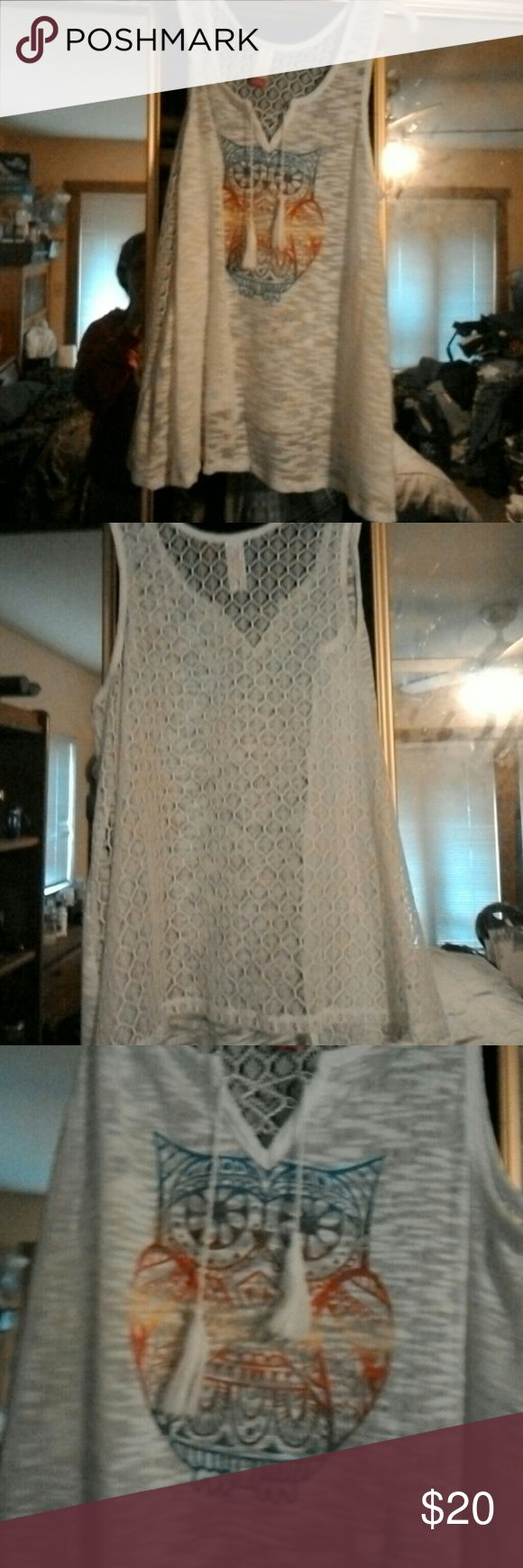 Lace tank top Brand new without tags Large Owl lace tank top No Boundaries Tops Tank Tops