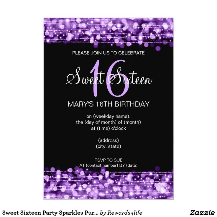 13 best PURPLE SWEET SIXTEEN Invitations images on Pinterest | Sweet ...