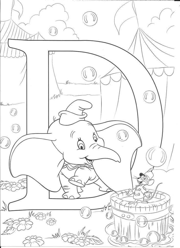 D For Dumbo Disney Coloring Pages Abc Coloring Pages Disney
