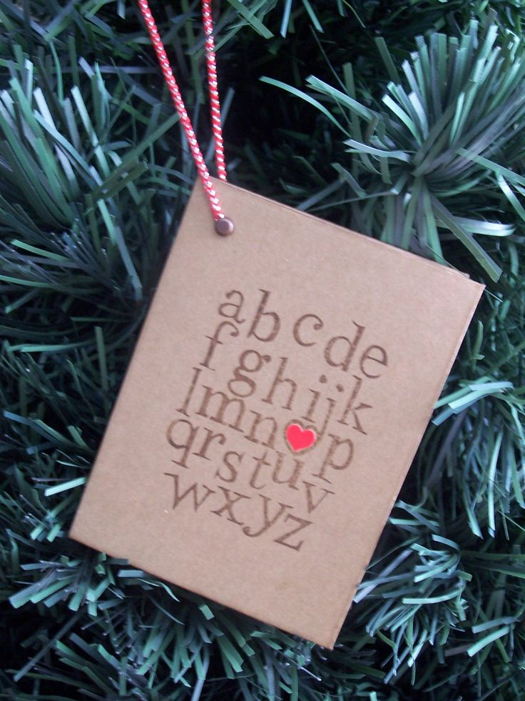 Book Ornament - ABC I Love You - Valentine Ornament - Christmas Holiday Package…