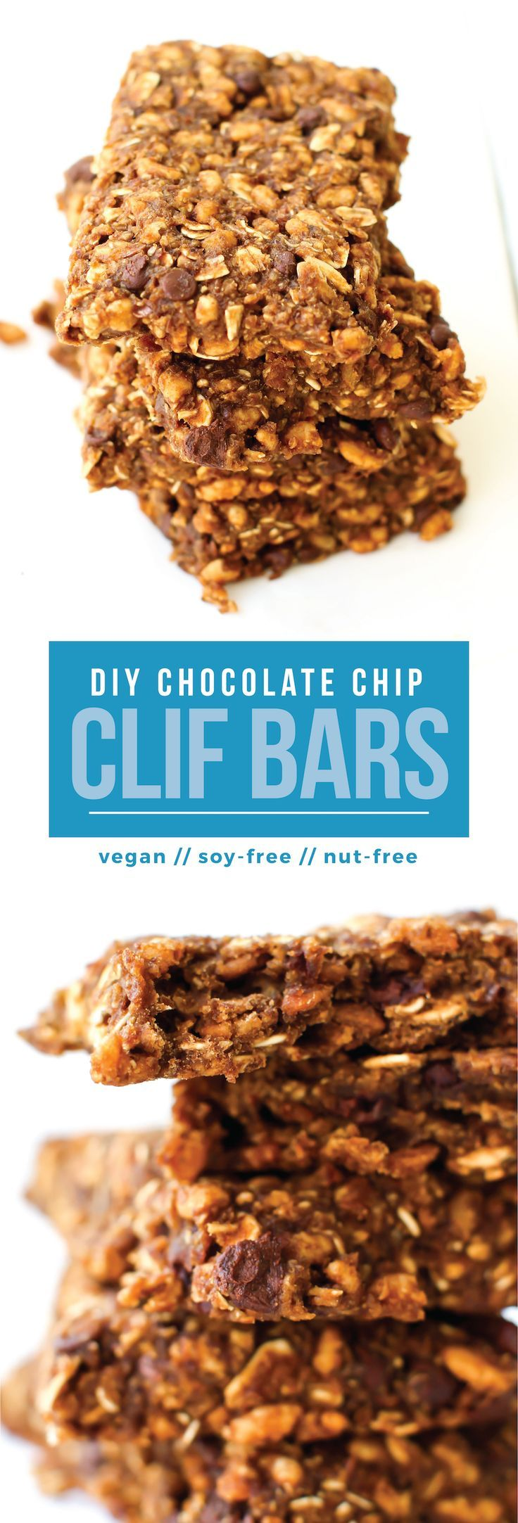 Make your own homemade Clif Bars! This nut-free, soy-free, vegan recipe makes for the perfect easy healthy snack. Much healthier and cheaper than storebought!