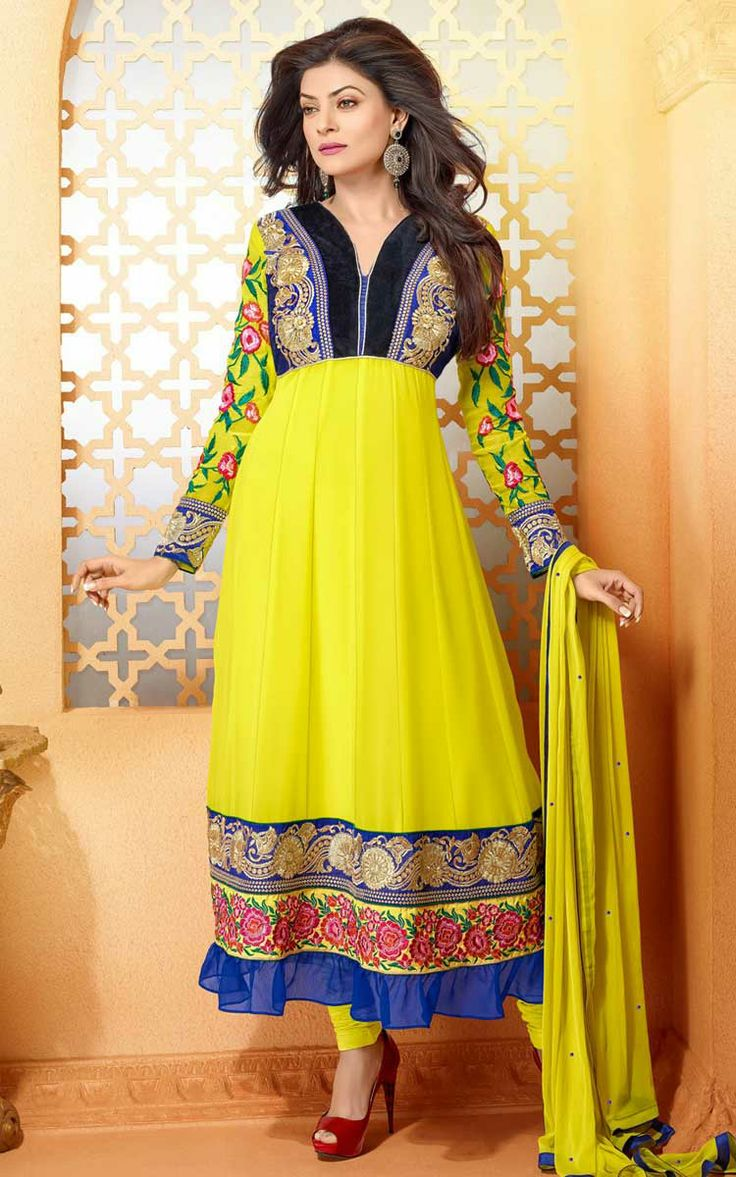 YELLOW FAUX GEORGETTE ANARKALI SALWAR KAMEEZ - DIF 29492