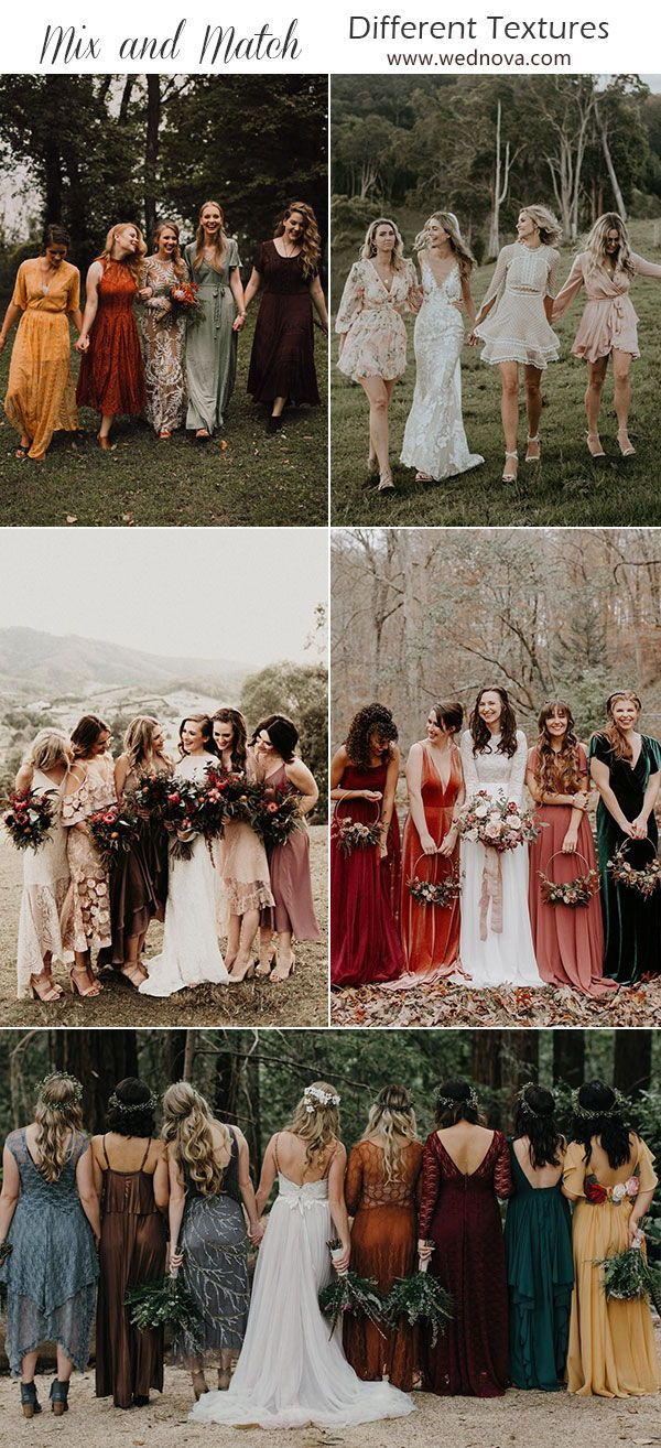 Mix And Match Bridesmaid Dresses Done Right 7 Ways To Rock The Trend Different Bridesmaid Dresses Mix Match Bridesmaids Dresses Bridesmaid Dresses Boho