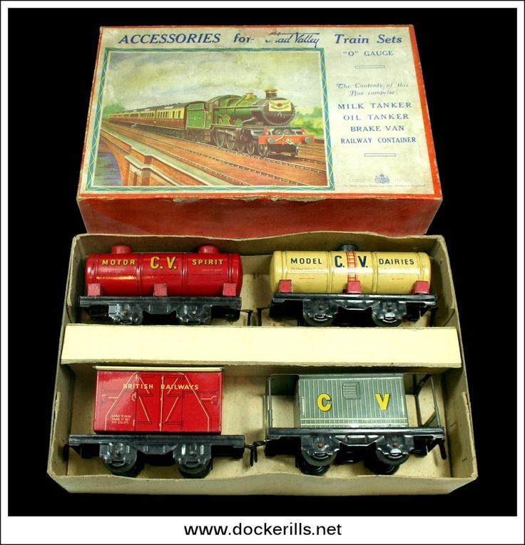 """Accessories For Chad Valley Train Sets, CHAD VALLEY, Great Britain. (Picture 1 of 2) Vintage Tin Litho Tin Plate Toy. """"O"""" gauge rolling stock includes a Milk Tanker, Oil Tanker, Brake Van and Railway Container. Photo in DOCKERILLS - TIN TOY REFERENCE - GREAT BRITAIN - Google Photos"""