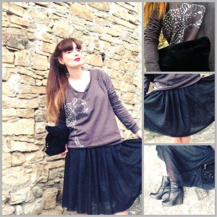 3Monkeys, Black tutù skirt idea outfit - gonna tulle  tutù nera, christian dior, dark outfit, fashion blogger, hipster, leopard sweatshirt, ... #black #outfit #skirt #girl #tutu' #swetshirt #leopard #fashionblog #fashionblogger #fashion #dark #romantic @suza cecil