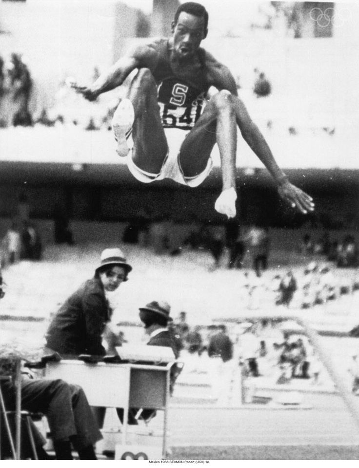Bob Beamon - destroying the long jump world record, albeit at high altitude, Mexico City Olympics, 1968.