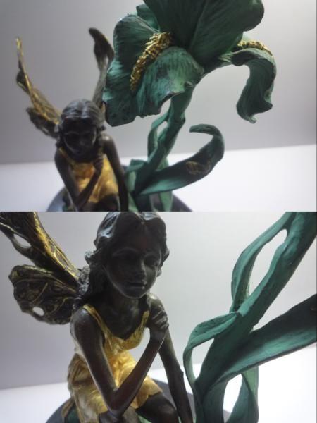 森の妖精 ブロンズ像 彫刻 台座大理石 作Milo 高約22cm_画像7