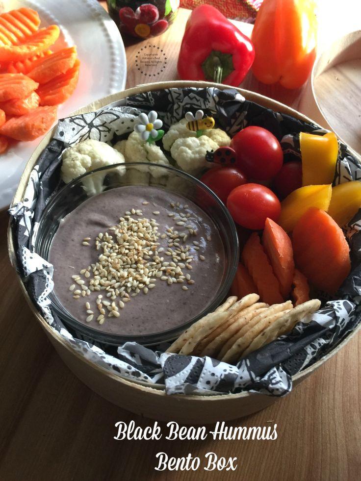 Hummus de frijol negro perfecto para una lonchera bento