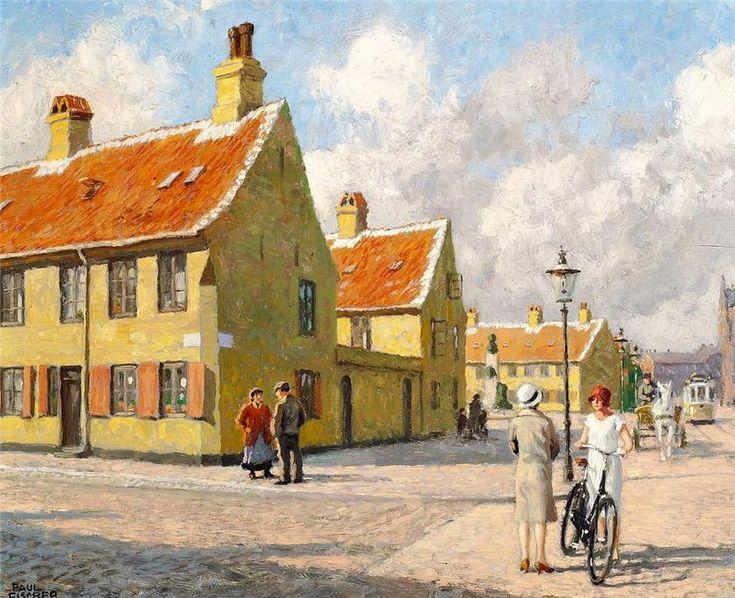 Paul Gustave Fischer (1860-1934): Parti fra Nyboder med hestekøretøj og sporvogn på Store Kongensgade