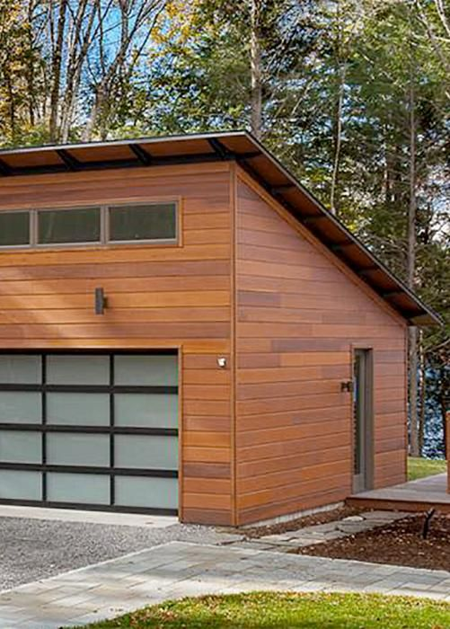 Garage Sloped Roof Glass Garage Door Cedar Siding