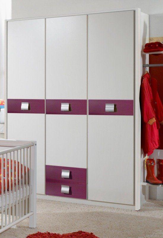 Kleiderschrank JETTE Modernes Jugendzimmerprogramm In Der Farbe Alpinweiss Mit Absetzungen Brombeer Masse B H