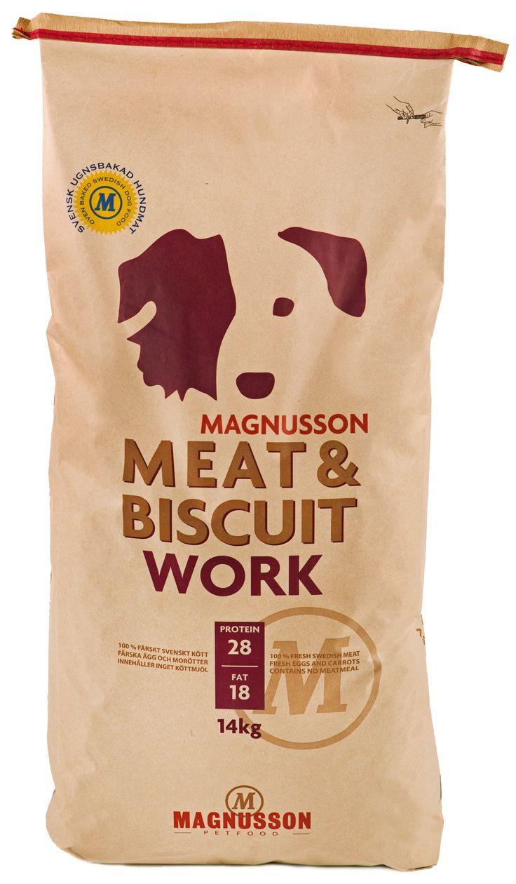 Magnusson Meat & Biscuit Work er et fullfôr til voksne hunder med høyt energibehov. Inneholder 50% ferskt kjøtt.        www.romeojulie.no