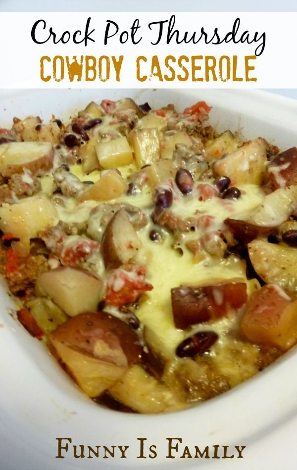 File this Crockpot Cowboy Casserole under hearty and family-friendly crockpot dinner recipes. My husband loved the beef and potatoes in this slow cooker meal!