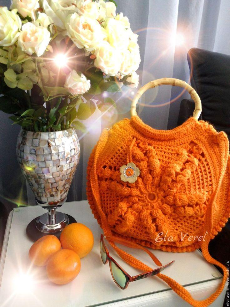 """Купить Вязаная сумка """"АПЕЛЬСИНОВЫЕ МЕЧТЫ - Бохо'' - оранжевый, оранжевая сумка, вязаная сумка"""