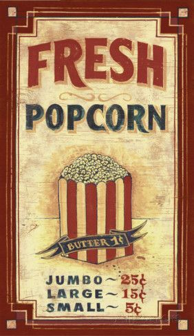 Popcorn Vintage Wood Sign at AllPosters.com