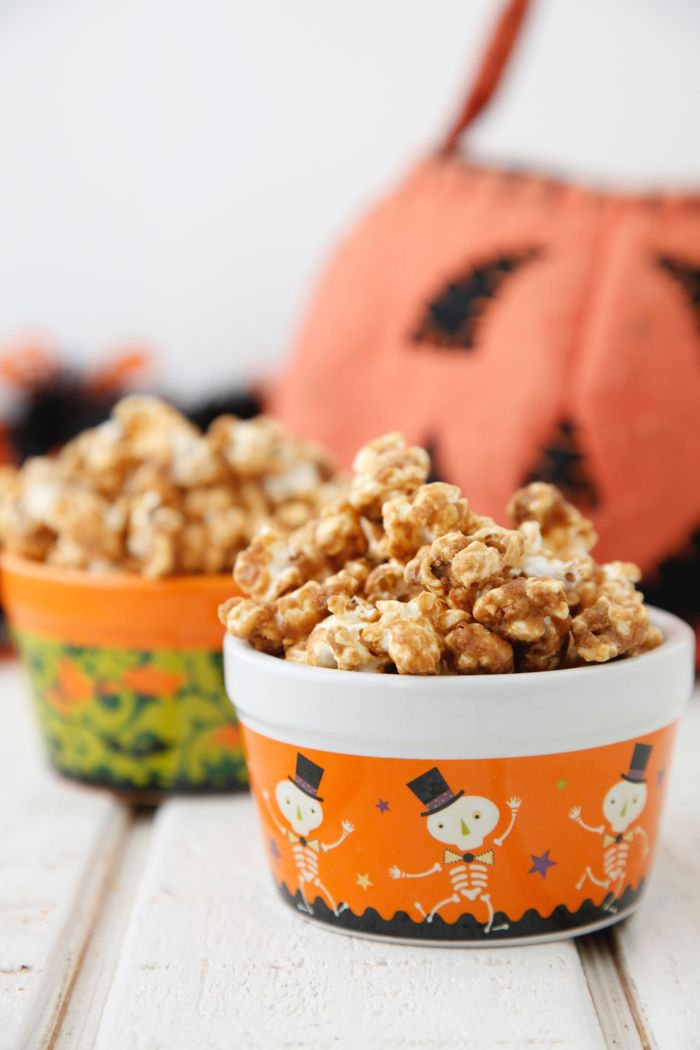 Caramel Popcorn makes such a fun Halloween treat for a classroom party of after school snack! Easy to make and even better to eat!