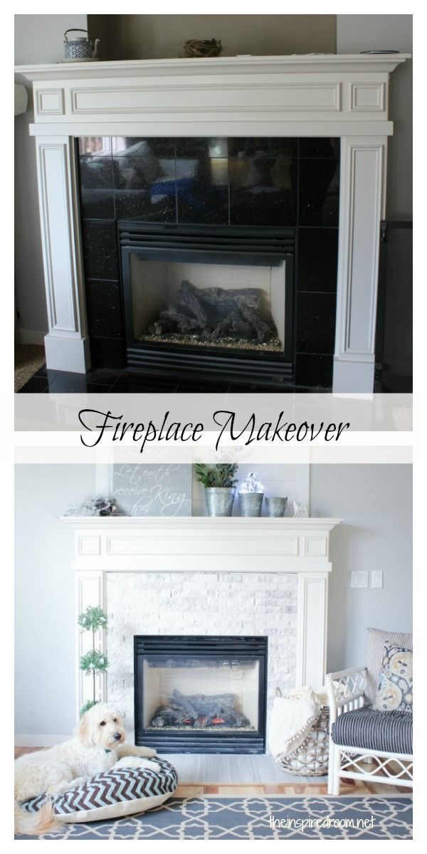 Before and after fireplace makeover. From bachelor pad black glitter tile to rustic stone!