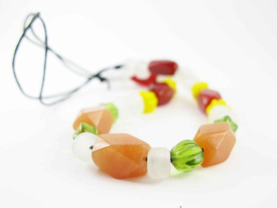 HILDUR - Viking reproduction beads of glass, agate and aventureine - tied into necklace - spring colors
