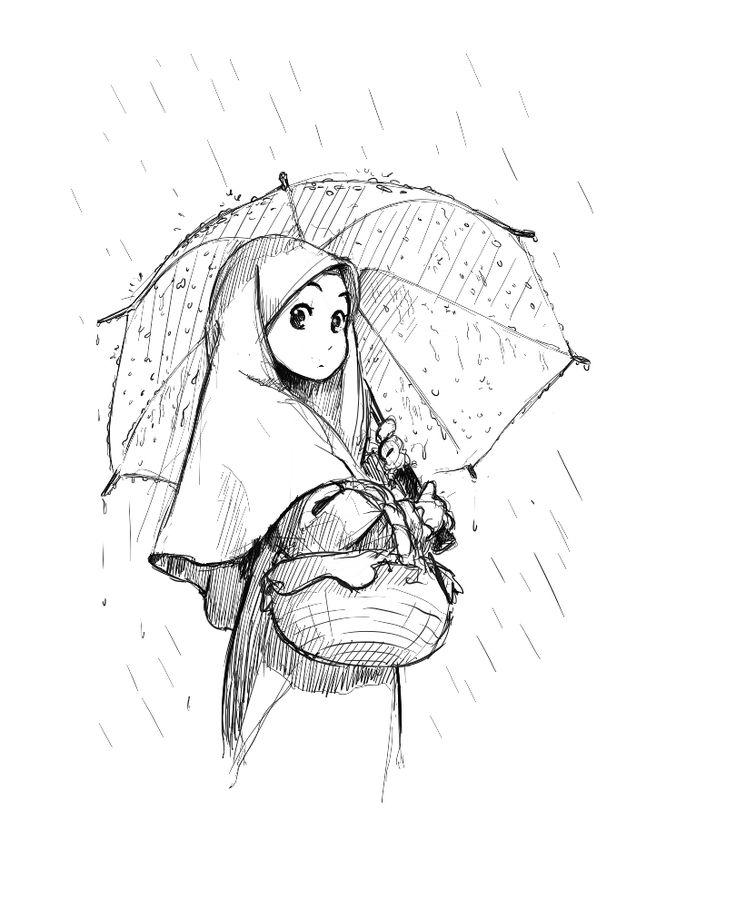 Manga+Girl+With+Umbrella+in+the+Rain