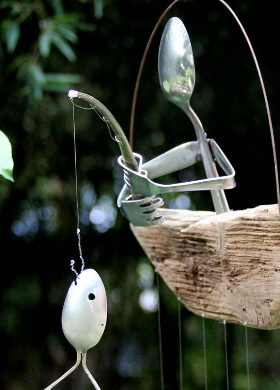 Gone Fishing, Spoon Fish Wind Chime Outdoor angler in a driftfood boat, perfect garden gift idea, Rustic kitchen windchime, Recycled art
