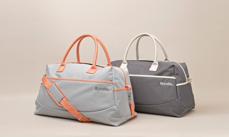 Bundle Overnight Bags come in two colour options, High Street (Charcoal) or Sweet Peach (Light Grey).