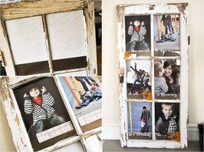 4. Un antiguo marco de ventana convertida en marco de fotos.