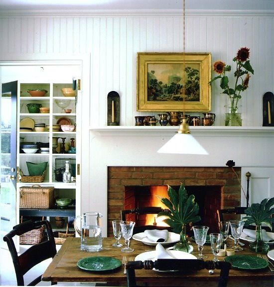 Casual Dining Room Fireplace In KitchenKitchen