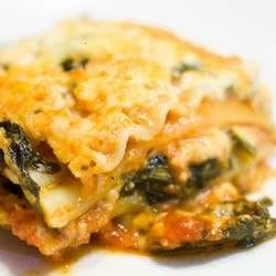 tasty casserole! tomato sauce and paste are enhanced with spaghetti sauce mix, and the creamy layers are packed with ricotta, mozzarella, cottage cheese, spinach and parmesan.