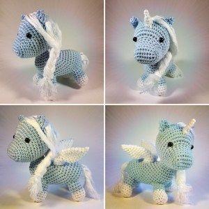 Freie Häkelanleitung: Baby Pegasus oder geflügeltes Einhorn | Flauscheinhorn
