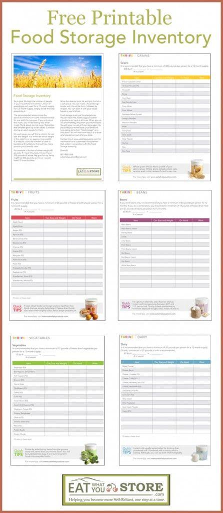 Free Printable Food Storage Inventory