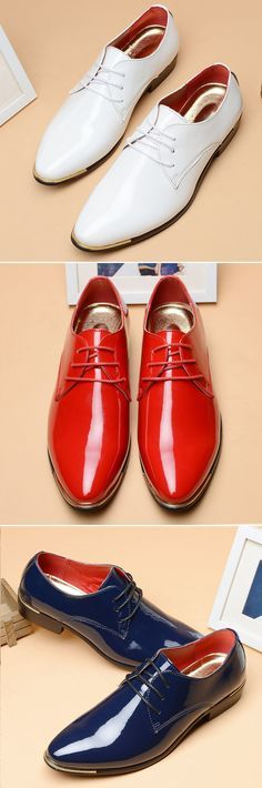 Men British Style Patent Leather Pure Color Pointed Toe Formal Shoes