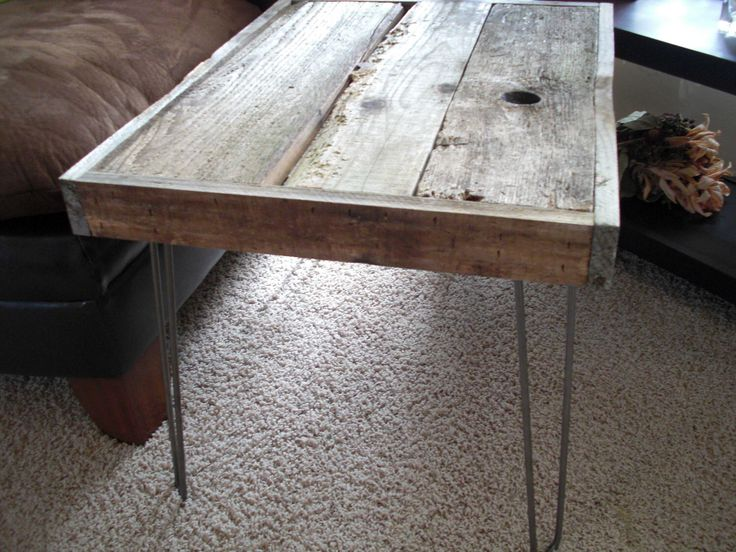 35% OFF SALE - Modern Industrial Reclaimed Rustic Wood Coffee Table - Side Table with Vintage Eames Style Steel Hairpin Legs by thezenartist on Etsy https://www.etsy.com/listing/80323963/35-off-sale-modern-industrial-reclaimed