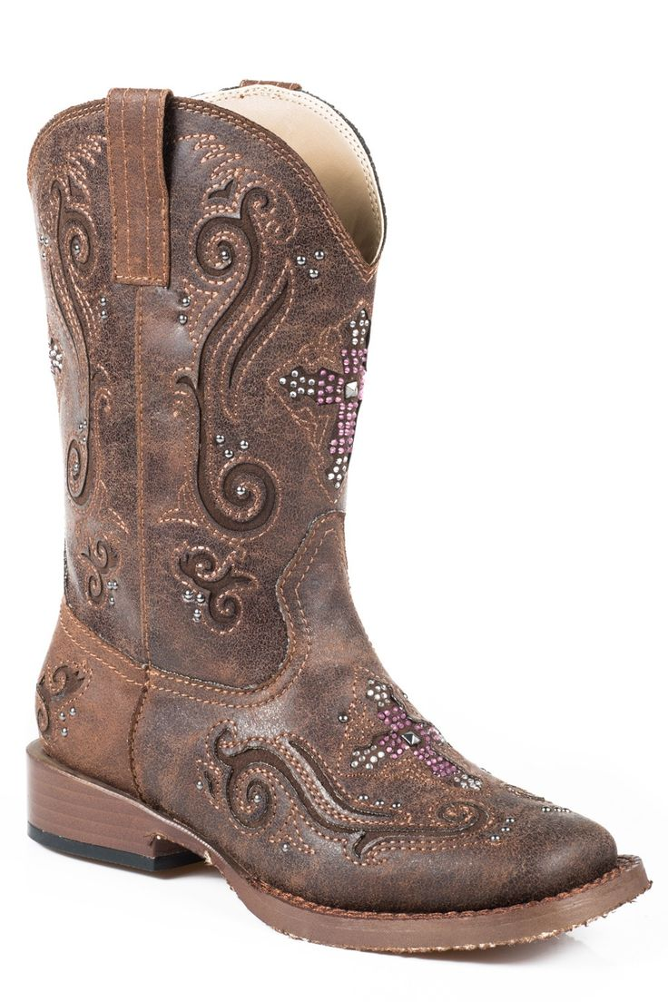 For authentic, classic, western apparel at an affordable price, Roper is the brand to trust. This item features brown upper with pink crystal cross inlay , quality faux leather materials , and padded