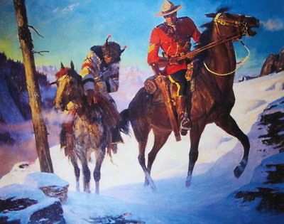 Canadian Mountie RCMP , A Friberg 2 riders tracks in snow