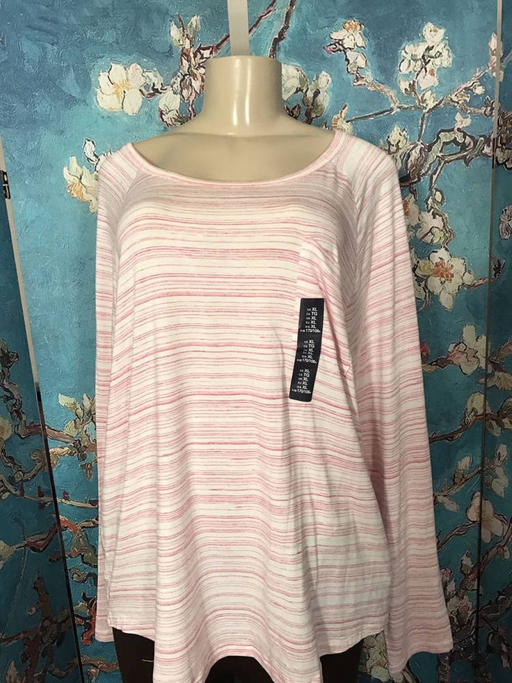 GAP XL NEW PINK/IVORY STRIPED ROUND NECKLINE POCKET LONG SLEEVE TUNIC TOP #GAP #Tunic #Casual