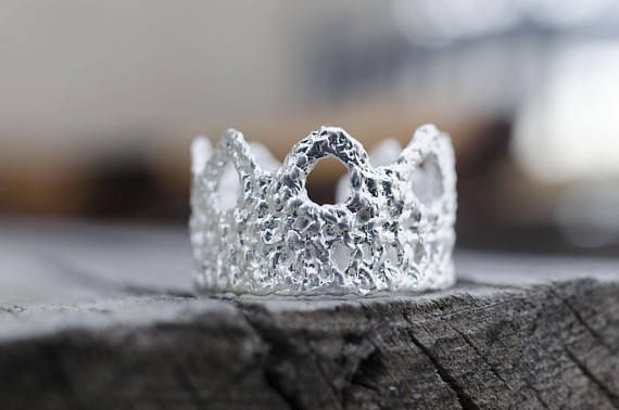 Lace Ring, Valentine's Gift, Silver Plated Crown Ring, Princess Crown Ring, Romantic Jewelry, Statement Ring, READY to Ship, Gift for her