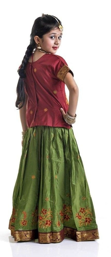 Silk Pavada And Blouse Kids In Indian Wear Pinterest