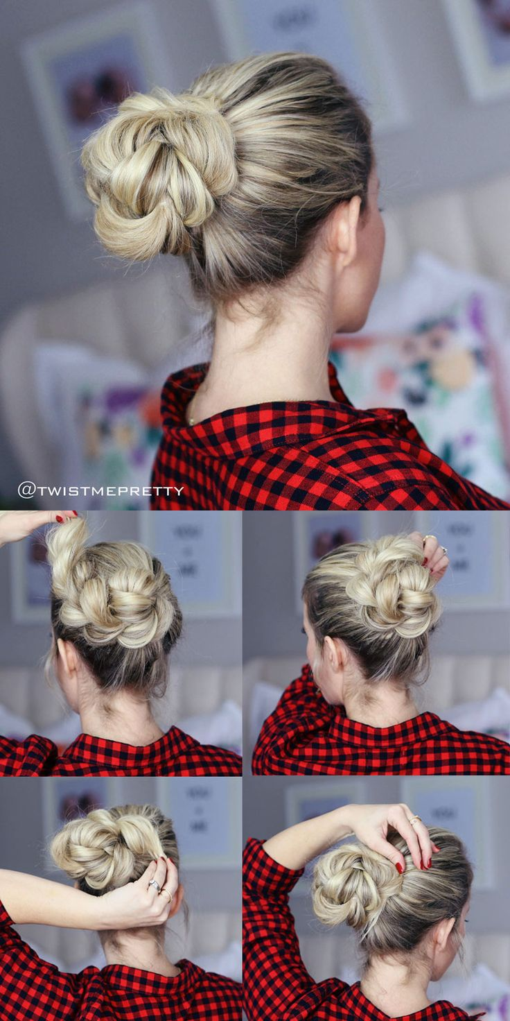 Braided then 'bunned' updo for dirty hair