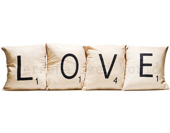 we can make these ourselvs set of 4 scrabble letter decorative pillow cases cushion covers love or choose any 4 letters
