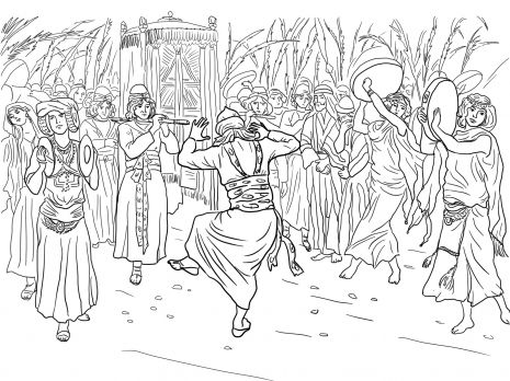 King David Dancing Before The Ark Of Covenant Coloring Page