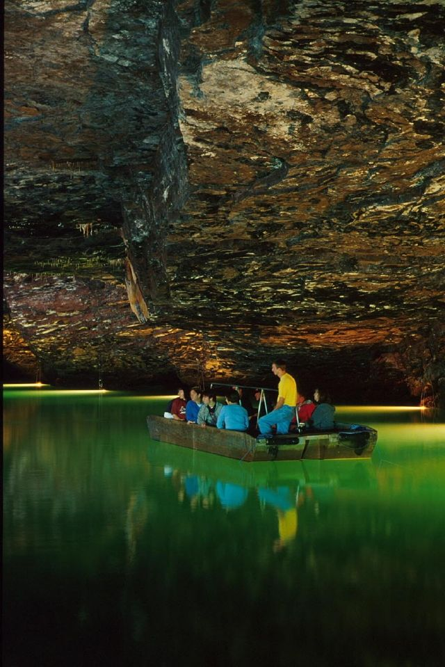 "The Lost Sea - Sweetwater, TN -According to the Guinness Book of World Records, America's largest underground lake is tucked away underneath Tennessee.  Embark on a tour of giant caves 140 feet below ground then hop on a glass bottom boat to float across ""The Lost Sea"" to spot large collections of cave formations  20,000 year old jaguar tracks."