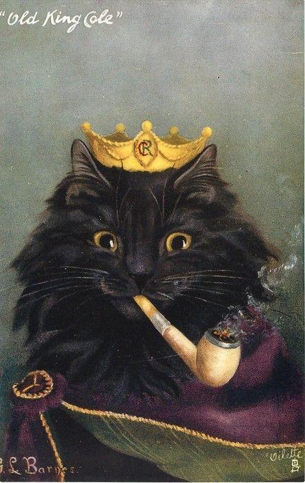 G.L. BARNES postcard  zwarte kat met een pijp t,moet niet gekker worden   lb xxx.