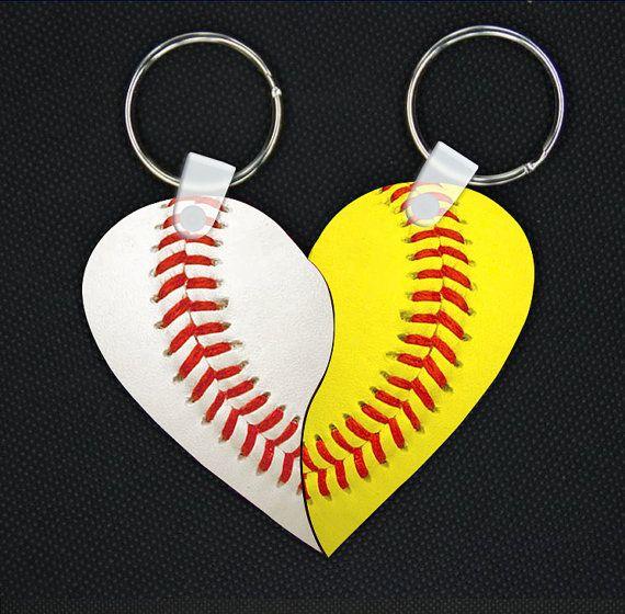 Best Friends Baseball & Softball LOVE Keychain  by 1stopmonogram, $16.99