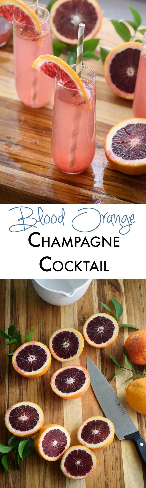 This blood orange champagne cocktail is the perfect easy cocktail recipe for entertaining!