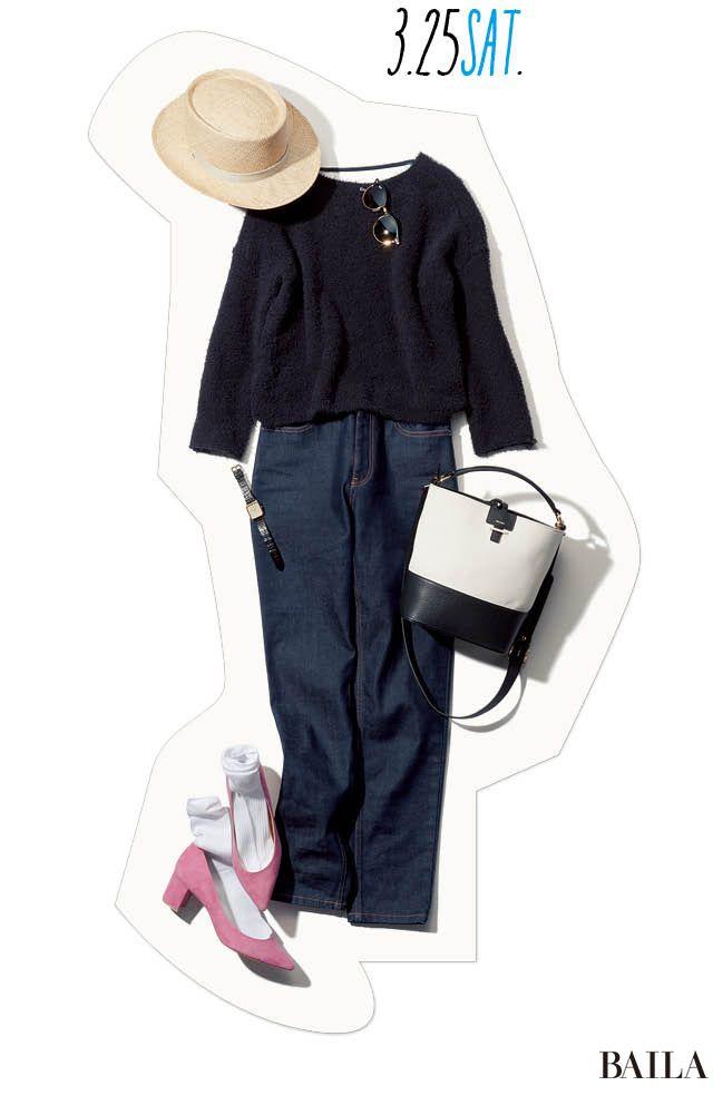 今っぽいシャギーニット×デニムで作る休日カジュアルは、春らしいムードを高める小物をプラスして。足元に桜色のパンプスを差して、ソックスを履けば旬なバランスでコーディネートが一気にあか抜け。休日なら、トレンドのバケツ型バッグやストローハットで遊び心を加えて、スプリング気分を満喫して!