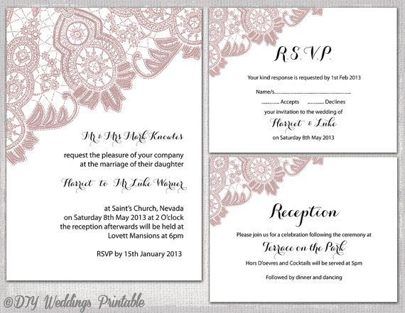 "Lace Wedding invitation template Dusky pink ""Antique Lace"" printable wedding invitations, RSVP response, reception card/ enclosure Download"