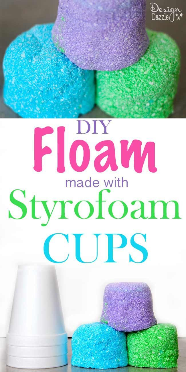 DIY Floam for Kids using styrofoam cups. Super easy and inexpensive way to make this fun play floam. #kidscrafts