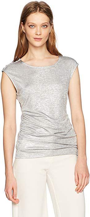 1003c660f533c8 Calvin Klein Women s Sleeveless Metallic Top with Buttons