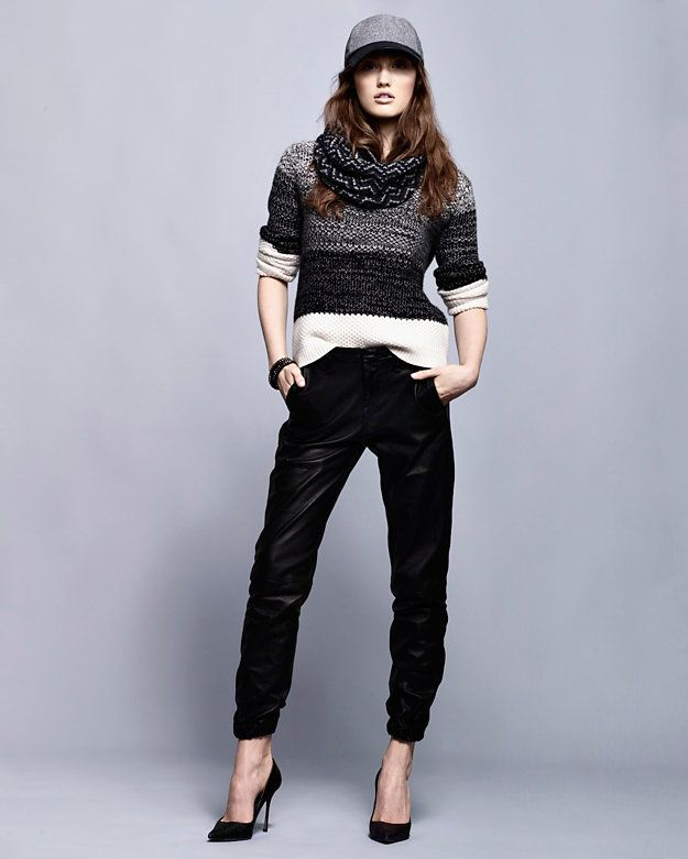 Intermix Leather Look: Rag & Bone Leather Joggers/SHAE sweater/Sergio Rossi  pumps