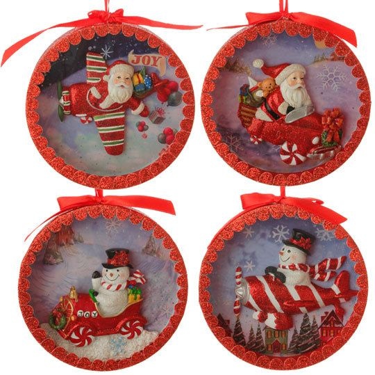 New shadow box ornaments in red and white peppermint theme for Find christmas decorations